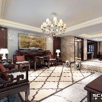 青岛三盛国际小区中式装修风格200经典装修