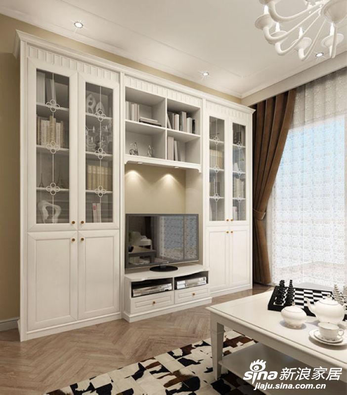 客厅电视柜设计成可代替电视背景的具有收纳功能的柜体,将视听、展示、收纳等多种功能合为一体,而且很有造型感并且用不同形状、大小的搁架表明可用于放置不同物品,体现家具的立体化功能。
