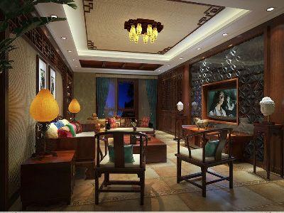 成都装修设计 川豪装饰 龙城一号案例 中式风格客厅设计
