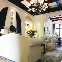 213平地中海田园混搭别墅 寻找那海天一色的浪漫温馨