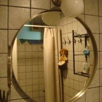 从镜子里可以看到大致的样子.