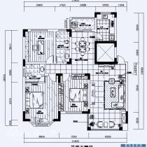5万装修110平米现代而时尚三房两厅家