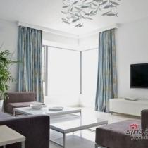 清爽120平简约新房 突破传统卧室透明墙