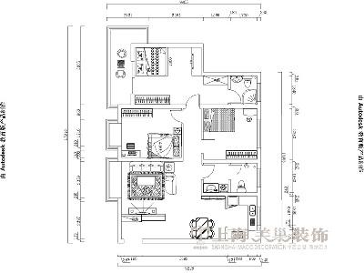 东润泰和装修三室两厅时尚暖意北欧案例户型图——美巢装饰