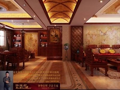 龙发装饰首席设计师许晓舵-名门华都200平米宫廷中式风格玄关