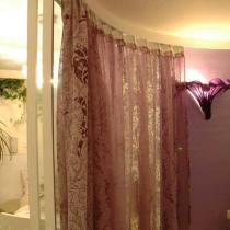白色混水的木档搭配着钢化玻璃隔墙,通透清澈中和谐着整个居室;紫色调的花卉图案的纱帘和壁灯,协调着紫色天鹅绒的墙面,浪漫中隐含着温馨。这些材质的装饰赐予了空间丰富的立面视觉效果