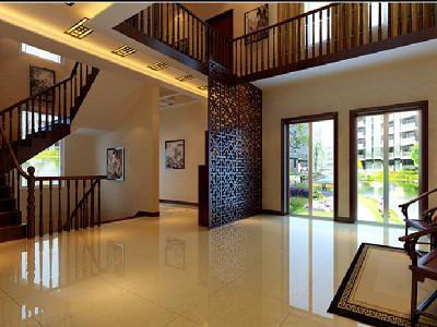 大厅 亮光的地面,轻盈的镂空屏风除去了中式的呆板与沉闷.