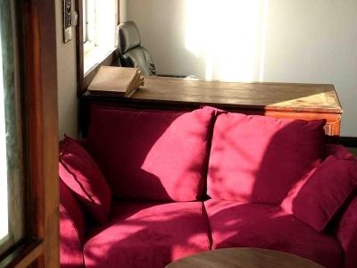 书房黄绿地板上的暗红沙发