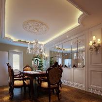 设计理念:暗藏灯光的吊顶,精美的圆形石膏和水晶来做装饰,加上墙面的镜面  ,晚餐时的灯光更为迷人,贵气加大气的风格,在搭配实木家具最能完美展现的  质朴感觉。 亮点:镜面装饰,白色护墙板,唯美装饰画,吊顶。