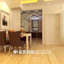餐厅用的是板式的餐桌椅,布艺的椅子,白色的餐桌,墙面只简单放了一个装饰画来修饰。