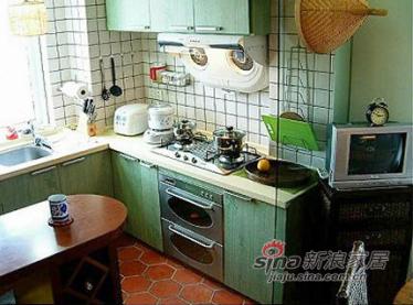 从餐厅看厨房。餐厅的小电视是家里最常用的电器之一。厨房和餐厅的隔断是一个小吧台。可以充当备餐台和早餐桌,边上还可以放红酒哦