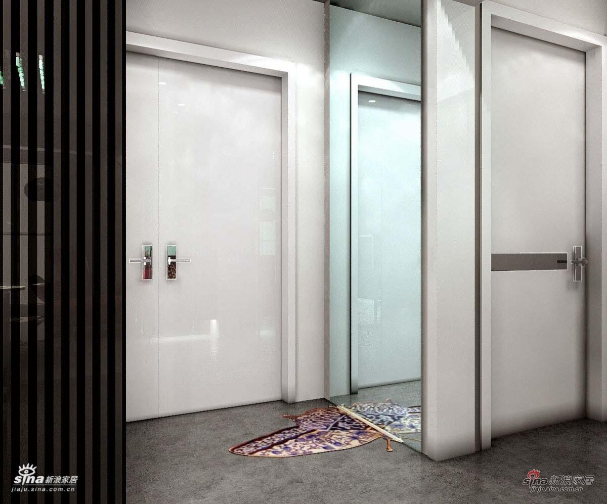 门厅地面用马赛克拼出半只蝴蝶,穿衣镜折射出整只蝴蝶,非常有趣!