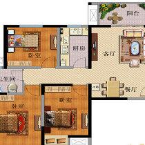 Q:1970197900**方圆经纬130平三室一厅简欧装修-户型图