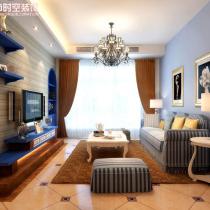 荣和大地108平米地中海风格装修案例—客厅2