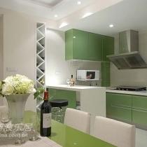 从餐桌到吧台,将绿色延伸下去