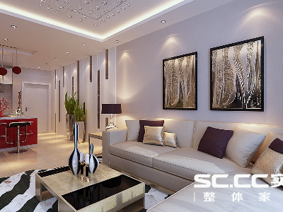 中信山语湖—现代简约-88平米两居室装修