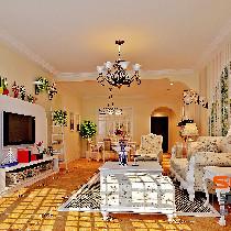越秀·滨海珺城----134平英式田园三居室温馨家居