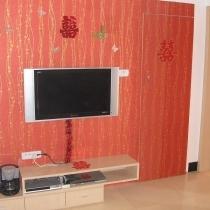 很喜庆的电视背景墙,32的长虹液晶,觉得还不如传统crt清晰