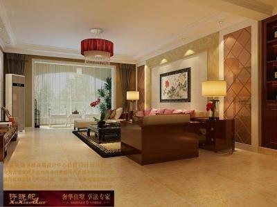 龙发装饰首席设计师许晓舵-国际城160平米中西混搭风格客厅