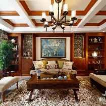 大气的吊灯木梁设计、古铜色的圆形灯,别具特色的墙面壁纸装饰背景墙,给家庭室增添更多的休闲情趣。