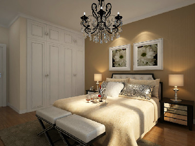 设计理念:主卧是主人休息的主要空间,一色的床头背景,简单的挂画,不失单调。 亮点:床头背景的颜色与挂画的完美结合使整个空间的设计融入了舒适安逸的双重质感。