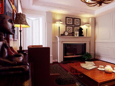简约美式风格——客厅 壁炉电视背景墙