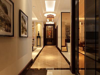 门厅进门为迎宾墙采用了紫檀木、简单几何形体镂空雕和陈设品的装饰花给人一种怀旧的思绪。
