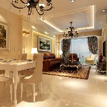 110平米温馨、大气暖色调现代欧式两居室装修