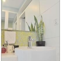 我们这个卫生间用的是发绿色的砖哦 ,在卫生间沐浴的时候也能感受到仿佛置身于大自然中呼吸