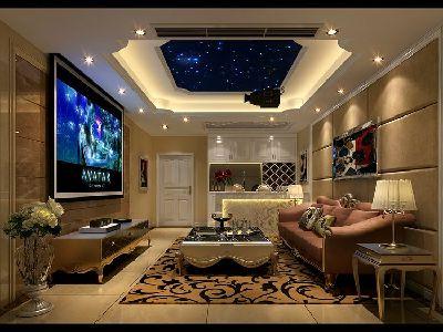 中海国际林庭叠院装修 简欧风格 地下视听室设计图 设计咨询13881867673