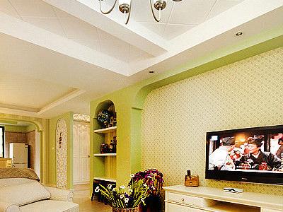 客厅,处处透露着清新,嫩绿的电视背景墙,素净的沙发
