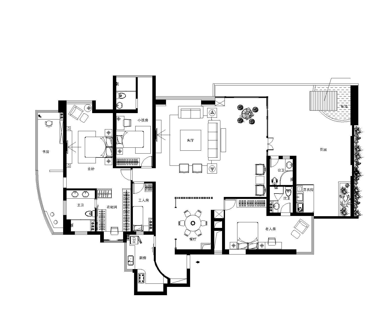 西关逢源花园-平面家具布置图