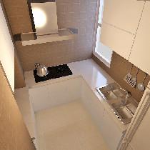 厨房主要以仿古墙砖为主,米黄色的仿古砖配合白色的橱柜是不错的效果选择,因为业主不常在家吃饭多以对厨房的要求不是特别高,以简单大方为主!