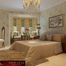 龙发装饰首席设计师许晓舵-国际城160平米中西混搭风格主卧室
