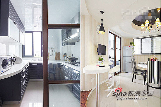 旭妈家的厨房面积不大,但是因为是正方形的,所以还是适用U型橱柜,设计到顶的橱柜能增加收纳性。