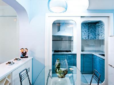 现代蓝色调80后业主110平三居室-长沙实创装饰