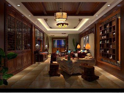 成都装修设计 川豪装饰 龙城一号案例 中式风格休闲厅设计