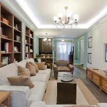 80㎡清新美式2居 沙发背景大书柜墙收纳