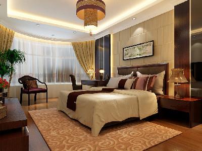主卧室床头背景墙和吊顶空间结合,是整个房间最有特色的地方。花梨木色的木质再配以高贵典雅的仿古灯,不约而同的色调文化使整个房间的贵族气质显现得淋漓尽至。