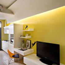 小户36平米暖黄色清新淡雅的单身公寓