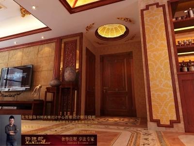 龙发装饰首席设计师许晓舵-名门华都200平米宫廷中式风格入户门