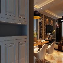 餐厅很简单,用背景的照片墙装饰了墙面,空间感又增加了些许,上面一个倒扣碗的造型灯,丰富了餐厅照明的强度。