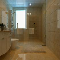 卫生间采用了暖色系的瓷砖,给人一种温馨的感觉。