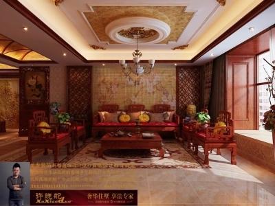 龙发装饰首席设计师许晓舵-名门华都200平米宫廷中式风格沙发墙