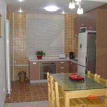 开放的厨房餐厅虽小但也够用了。