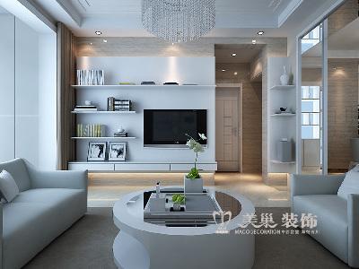 建海绿荫半岛三室两厅装修效果图-现代雅致充溢样板间——电视背景墙