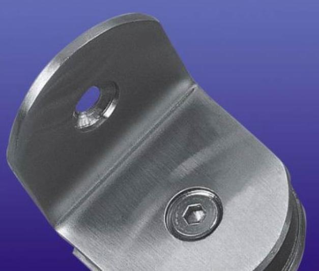 富力玻璃夹90度不锈钢半圆(单面)B010B010