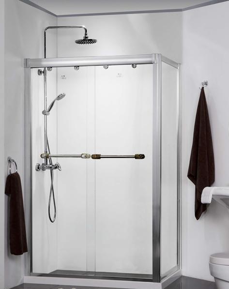 德立L2302长方型双趟门带缓冲推拉门淋浴房L2302