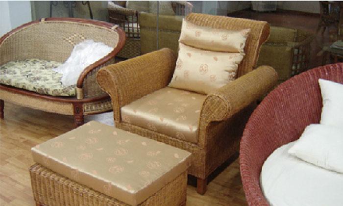 凰家御器藤编单人沙发带脚凳NH-Y015NH-Y015
