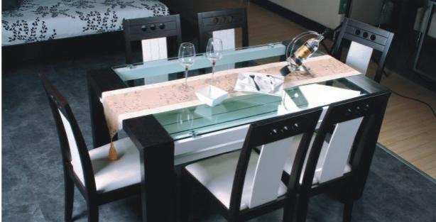 华源轩餐厅餐台黑橡配白系列T304T304